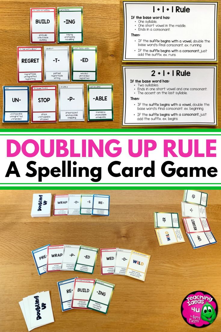 Doubling Up Spelling Rule Card Game 1+1+1 and 2+1+1