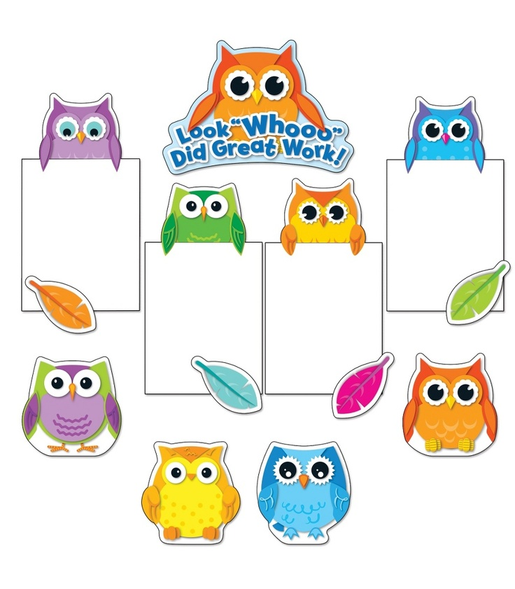 Colorful Owl Classroom Decorations ~ Colorful owls good work bulletin board set classroom
