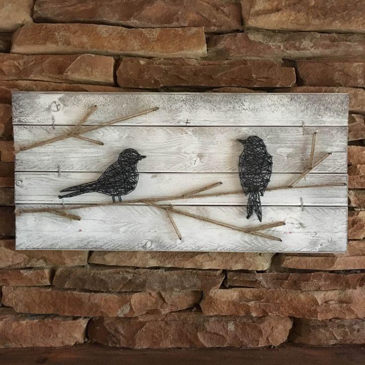 RUSTIC GALLERY WALL, Farmhouse Decor, Bird Wall Art, Farmhouse Chic, Bird String Art, Rustic Industrial Decor, Bird on a Wire by ElevenOwlsStudio on Etsy https://www.etsy.com/listing/265900727/rustic-gallery-wall-farmhouse-decor-bird