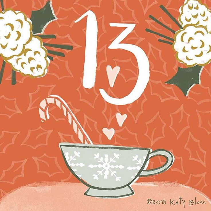 «Snuggle up with a hot chocolate made with love, on day 13 of illustrated advent.»