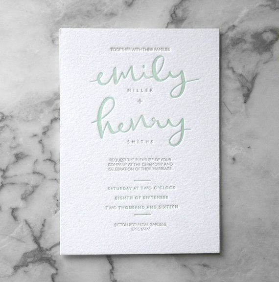 Letterpress Calligraphy Wedding Invitation Suite (Main Invite and RSVP) (50…