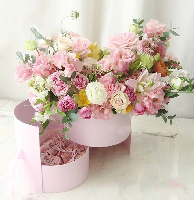 Double Layer Round Flower Paper Boxes With Ribbon Cofbay Flower Box Gift Ribbon Rose Bouquets Flower Gift