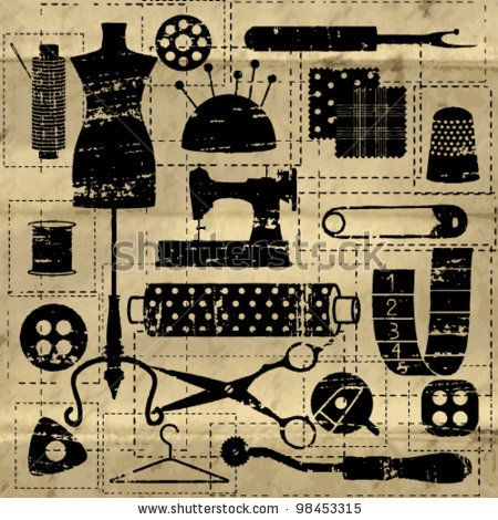stock vector : Black scratched sewing and tailoring related symbols on old paper background