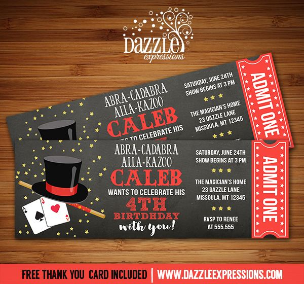 Printable Magic Show Chalkboard Ticket Birthday Invitation | Magician Party | For a Birthday or Any Event | Digital File | Kids Birthday Party Idea | Abra Cadabra | Card Tricks | Magic Wand | FREE thank you card | Party Package Available |  Banner | Cupcake Toppers | Favor Tag | Food and Drink Labels | Signs |  Candy Bar Wrapper | www.dazzleexpressions.com