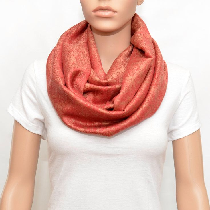 Coral Scarf, Coral paisley Infinity Scarf,Paisley scarf, Paisley infinity scarf by NyUrbanAccessories on Etsy https://www.etsy.com/listing/156682137/coral-scarf-coral-paisley-infinity