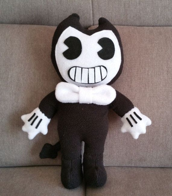 """Handmade Bendy plush (unofficial)from """"Bendy and the ink machine"""" horror game,markiplier,horror game plush,bendy soft toy,bendy doll,bendy"""