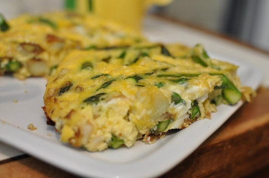 Asparagus Frittata - Start your morning off with an asparagus-filled frittata. What's great is that you can make this recipe on a Sunday and portion it out to enjoy over the course of the week. Omit the cheese to keep the recipe flat-belly-friendly. Asparagus contains both prebiotics and probiotics, which are both important for keeping your digestive tract healthy and working properly.