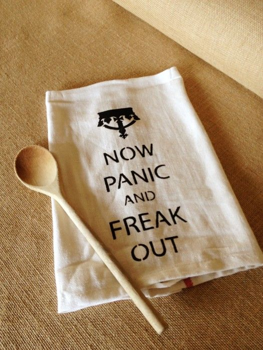 {Tea Towel} PANIC NOW & FREAK OUT funny Dish Cloth - by RunWildHorses on madeit. Love it :-)