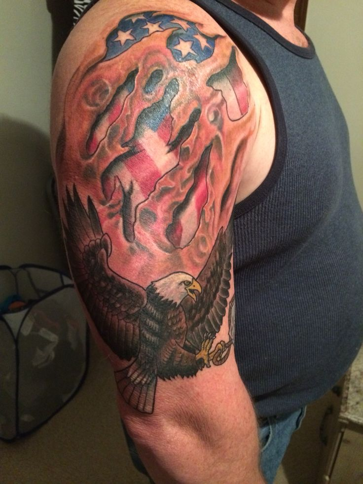 Eagle tattoo with flag. My memorial to my best friend ...