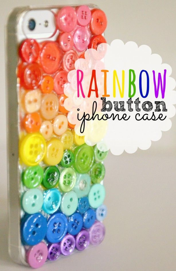 #DiY #Rainbow #Button #iPhoneCase.  Super cute iPhone case made from a $5 #clearcover and spare #buttons.  #rainbowbuttons