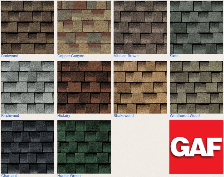 Vinyl Siding Color Chart | GAF Timberline Roofing Shingles