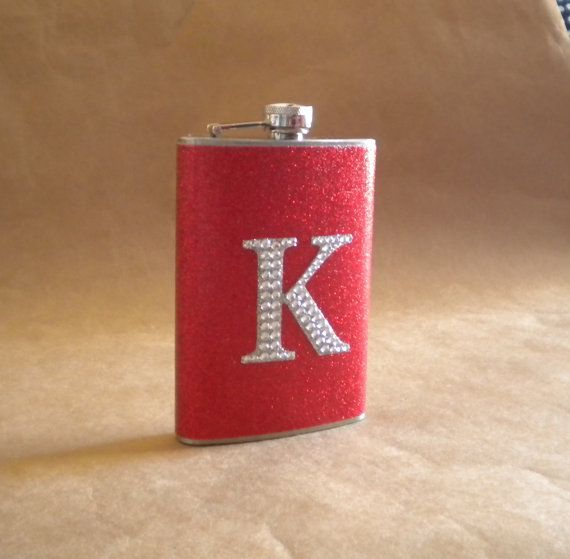 Personalized Gift Flask Red or ANY Color Sparkly by kryan2designs, $23.00