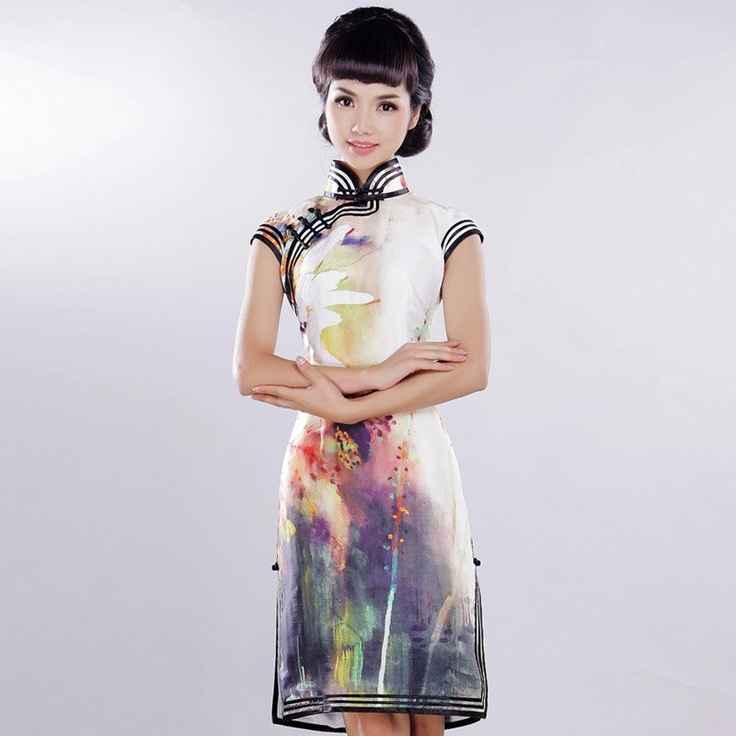 #16  Orchid & Orange - Read full story: http://www.elegente.com/fashion-elegant-orchid-printed-chinese-cheongsam-dress.html