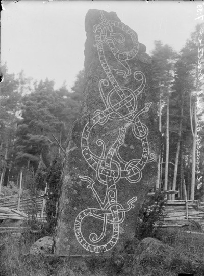 "Rune stone in Näsby Odensala, Sweden. The inscription says: ""Ingefast had this stone raised in memory of Torkel, his father, and in memory of Gunhild, his mother. They both drowned""."