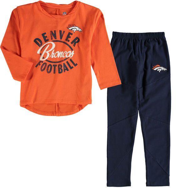 Denver Broncos Girl's Preschool Fan Gear Fan Gear Football Sweetheart Long Sleeve T-Shirt and Pant Set - Orange