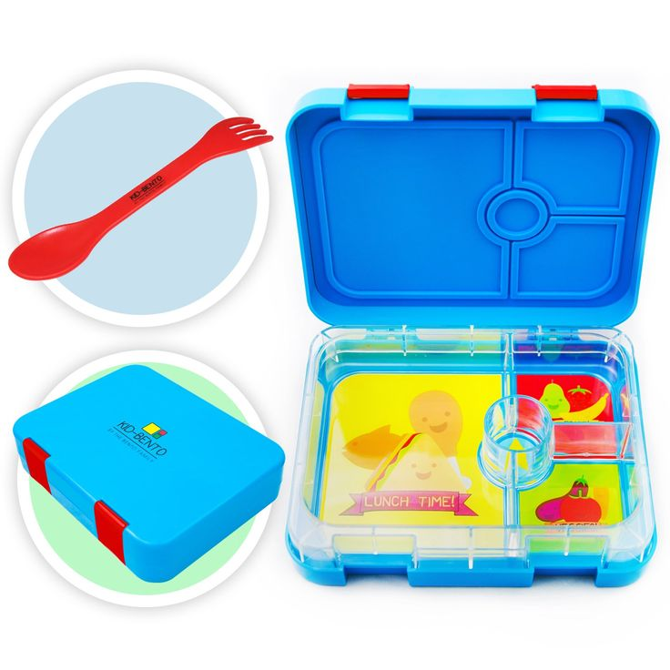 Kid Bento Lunch Box Container for Kids - Leakproof Insulated Childrens 4 Compartment Reusable Food Containers - Lunch Boxes include 2 in 1 Spoon and Fork Spork Set - Microwave and Dishwasher Safe
