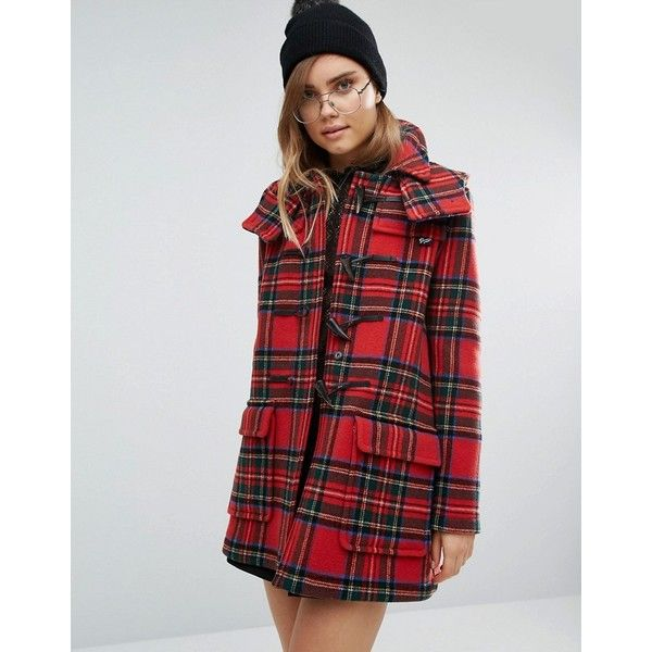 Gloverall Check Duffle in Royal Stewart Plaid ($565) ❤ liked on Polyvore featuring outerwear, coats, red, wool cape coat, hooded cape coat, plaid wool coat, red wool coat and wool toggle coat
