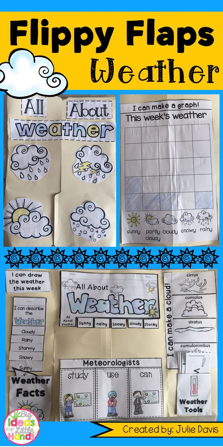 Weather Flippy Flaps! This is a great way to get your students learning about Weather in a fun hands-on interactive way! Your students will be engaged and learn about Weather in many different ways! Activities included: - All About Weather - Weather Word/Picture Match - Weather KWL - Clouds can/have/are - Meteorologists study/use/can - Describe the Weather - Weather Facts - Draw Weekly Weather - Weather Vocabulary - Make a Cloud using cotton balls - My favorite type of weather is... writing