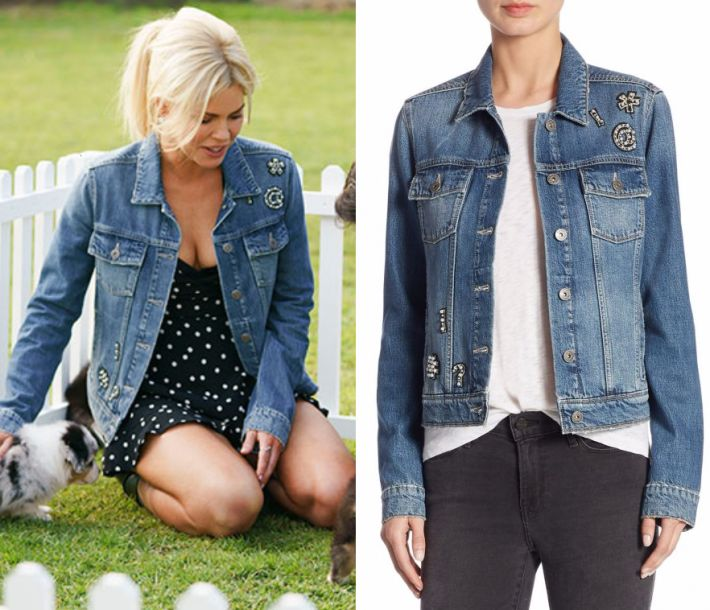 """by Kirsty0 Comments Sophie Monk wears this blue denim jacket with """"Ciao Baby"""" embellishment in this episode of The Bachelorette Australia on Thursday the 12th of October 2017. It is the PAIGE Rowan Ciao Embellished Denim Jacket."""