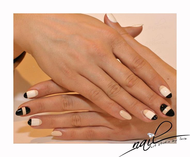 nails nail art  trend 2015 manicure design stripes nude black creamy