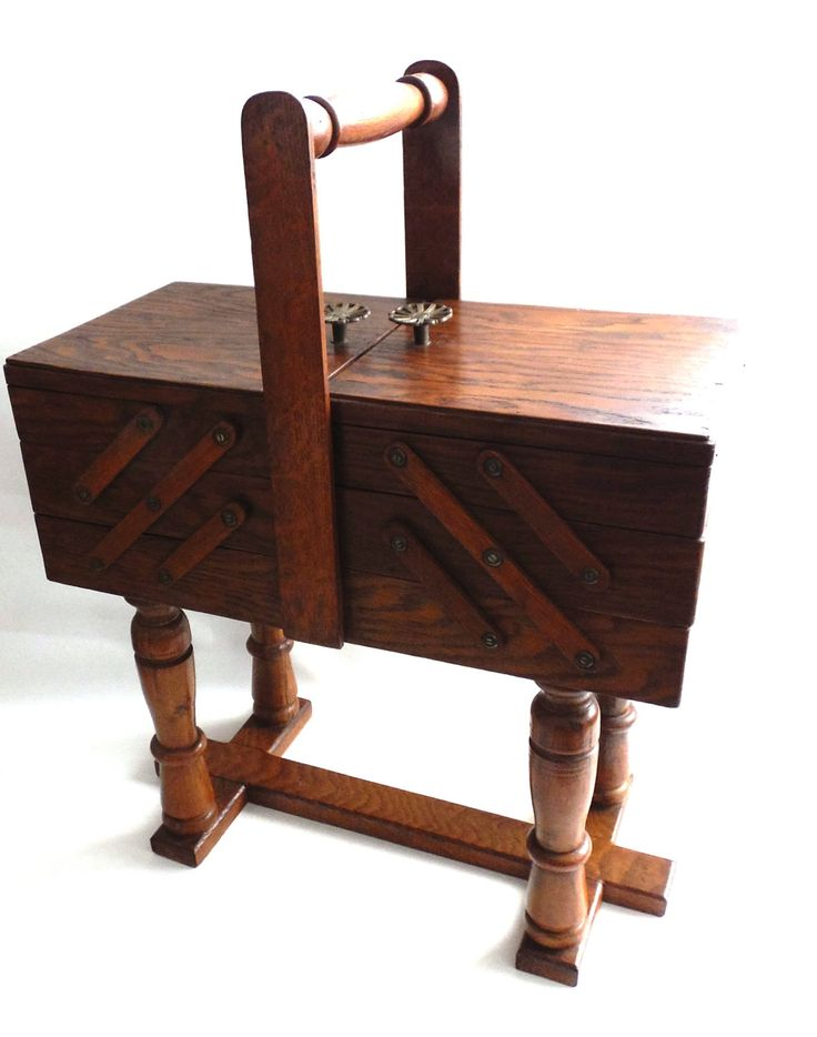 Sewing chest, Antique Wooden Sewing Box on legs. Storage box for sewing supplies or jewelry. Cantilever sewing box.