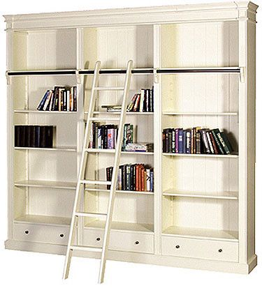PORTOBELLO ANTIQUE WHITE LIBRARY BOOKCASE - LUXURY HOME FURNITURE Portobello Antique White Library Bookcase made from Mahogany with an authentic aged slightly distressed finish with ladder from our on