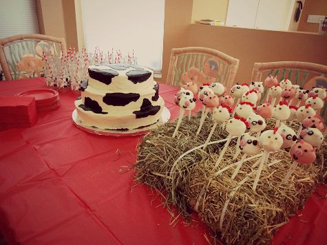 Farm Theme 1st Birthday Party Cow Print Cake And Animal Pops In Hay Bale
