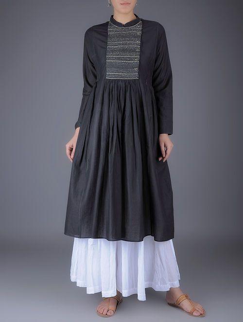 Black Kantha Embroidered Mandarin Collar Gathered Cotton Kurta