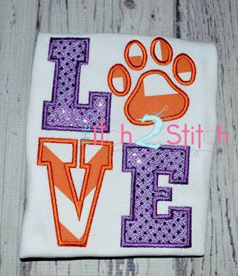 Paw Print Love Applique Design For Machine Embroidery INSTANT DOWNLOAD now available on Etsy, $4.00