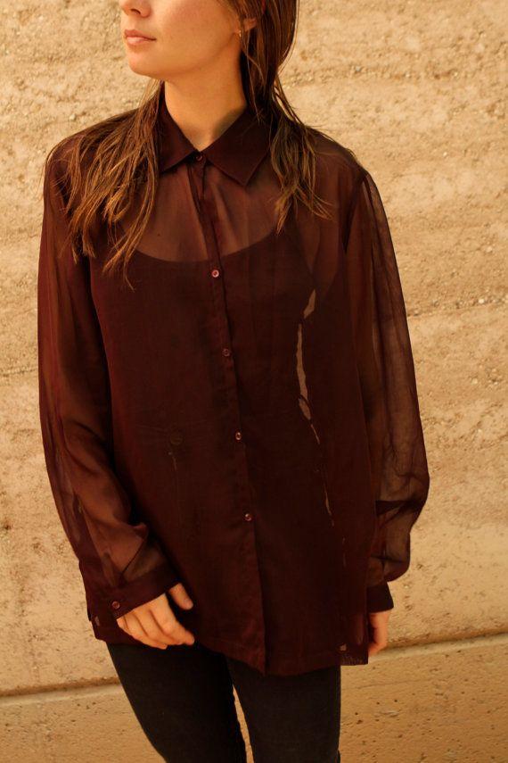 90er Jahre SHEER Wein Farbe OVERSIZE Bluse Hemd von ZiaVintage