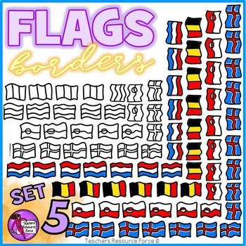 Flag Borders Clipart Doodle Style (Belgium, Iceland, Greenland, Netherlands)