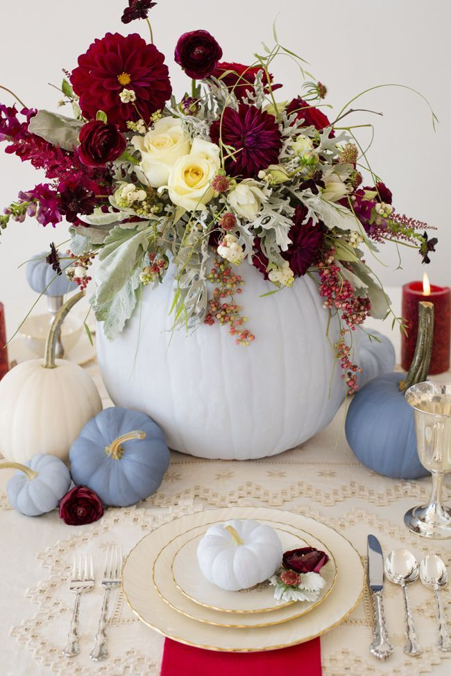 This pumpkin tablescape is totally adorable -- not cheesy at all! | http://www.weddingpartyapp.com/blog/2014/10/28/chic-fall-wedding-decor-flowers-contributor-biana-perez/