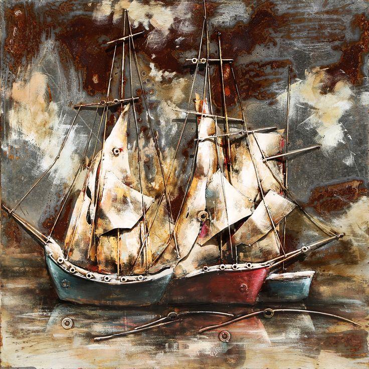 Trendykunst presenteert dit prachtige schilderij van zeilschepen.  Metalen 3D schilderij met warme kleuren.  Schilderij helemaal gemaakt van metaal.
