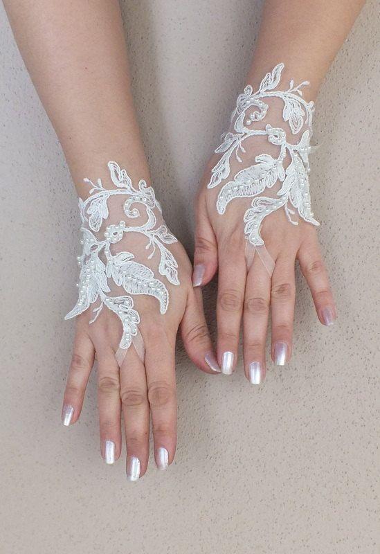Wedding Glove ivory lace gloves Fingerless Glove by WEDDINGGloves, $30.00