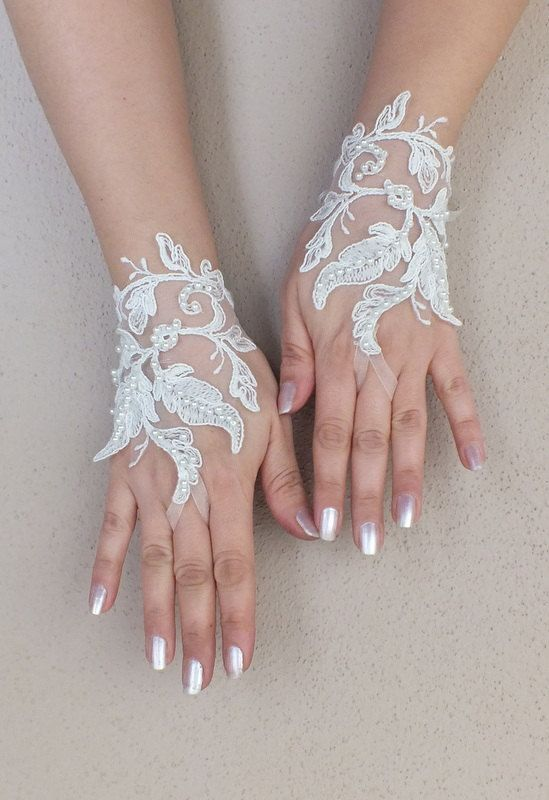 Wedding Glove ivory lace gloves Fingerless Glove by WEDDINGGloves, $30.00