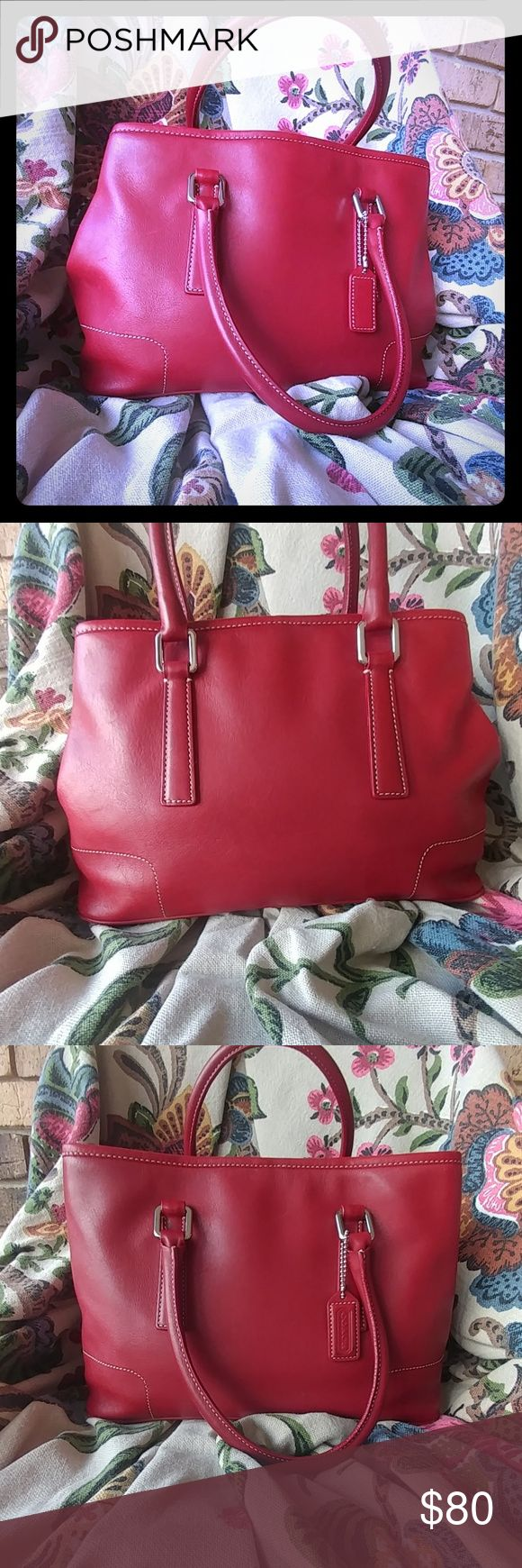 "Hampton Red Coach Satchel Lovely older Coach bag that has slight scuffs and a 1/4"" spot on interior. Purse is stuffed for picture taking. Feel free to ask for more pics or to make an offer. Coach Bags Satchels"