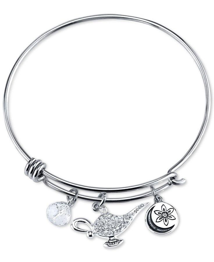 Disney Genie Crystal Charm Bracelet In Stainless Steel