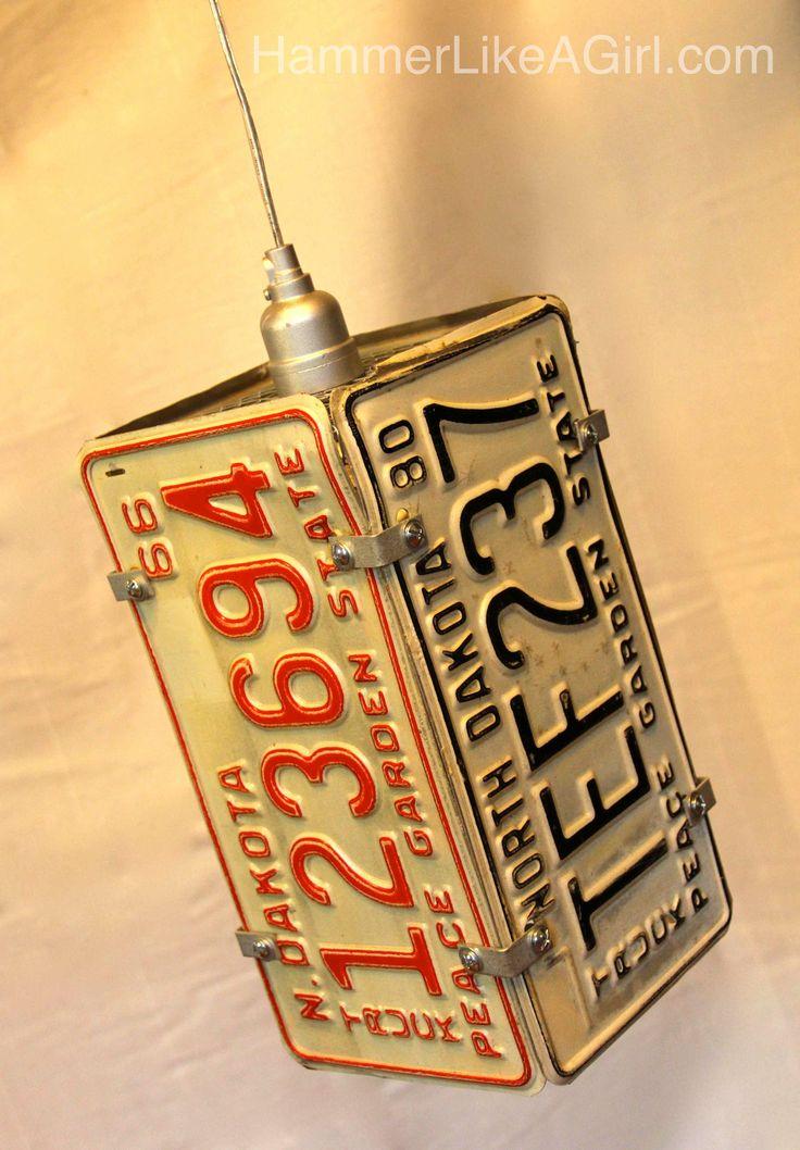 license plate pendant light | Handmade Holiday Market | Hammer Like a Girl