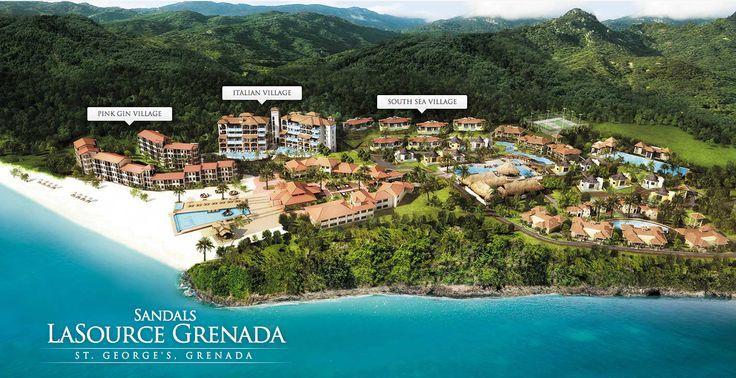 Aerial view/map of Sandals La Source #Grenada #Travel #Caribbean ...