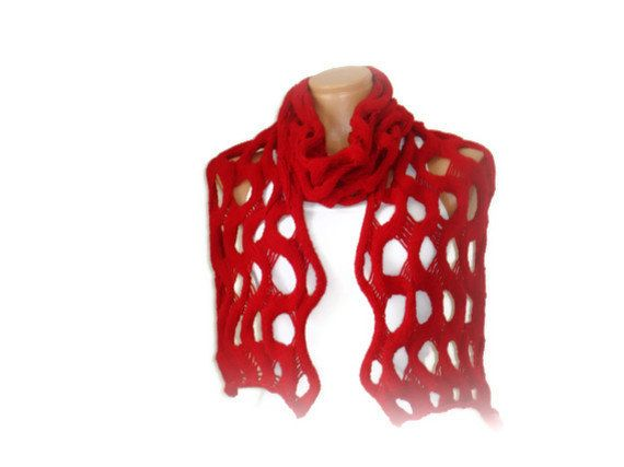 Red Scarf Hand Knit Unique design Best style New by vyldanstyl, $57.00