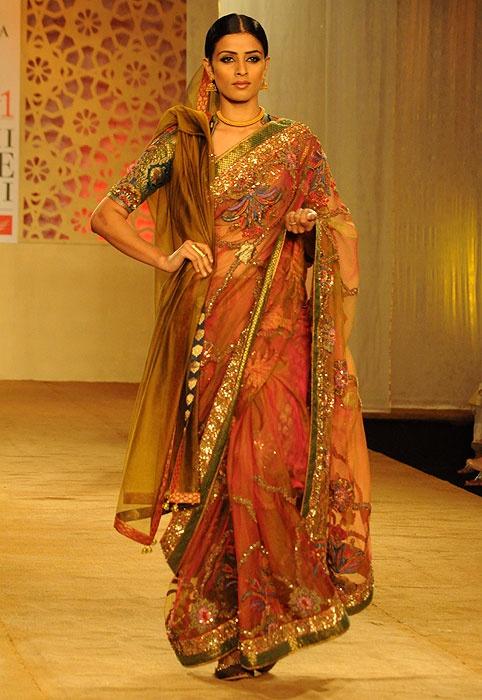 Ashima Leena olive sari