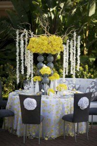 Yellow And Gray Wedding Table Scape Love The Color Combo