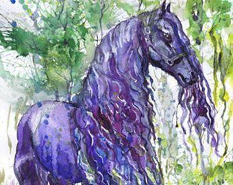 Friesian caballo acuarela pintura, Arte equino, violeta, decoración ecuestre, arte de caballo grabado, arte de pared de caballo, caballo Ilustración animales regalos