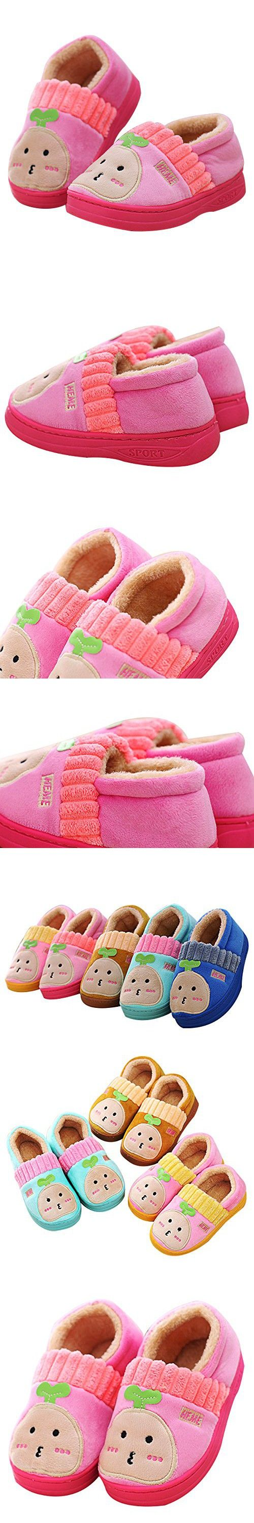 Kosbon Baby Girls Toddler Soft-sole Anti-slip Waterproof Leater Slippers Boots , Winter Thickened Plush Princess Style Shoes Boots with Bocknot , Best Present Gift for Kids Children (17CM, Pink)