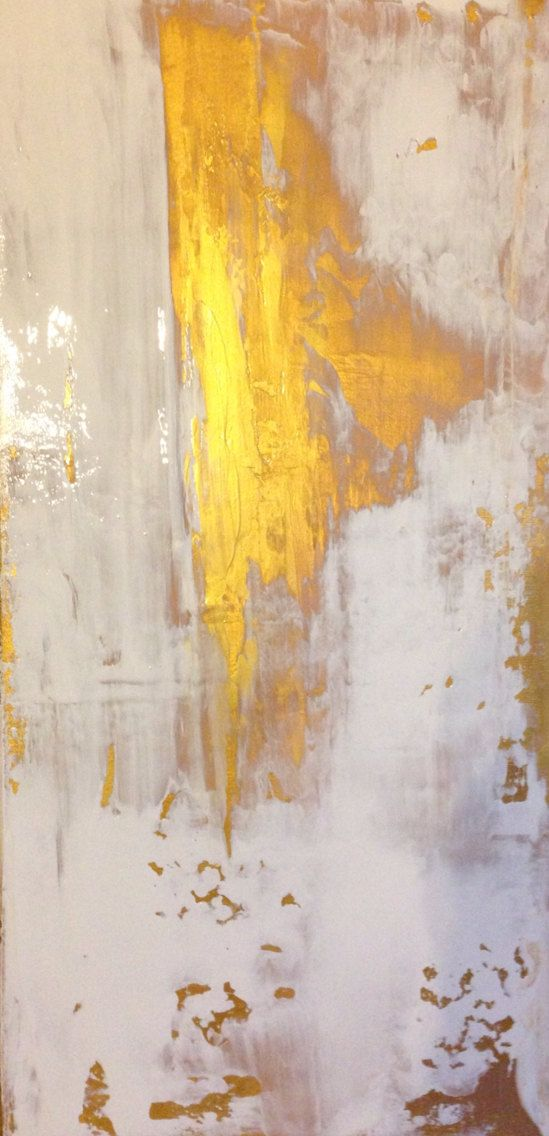 Sold Abstract Painting Gold and White 12x24 by JenniferFlannigan
