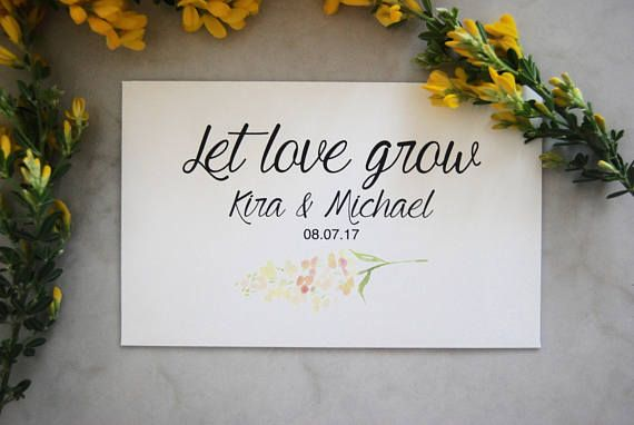 Let Love Grow Personalized Wedding Favor, Flower Seed Packet Favors, Seed Envelopes 50 Pack Wedding Favours, Let Love Grow Seeds