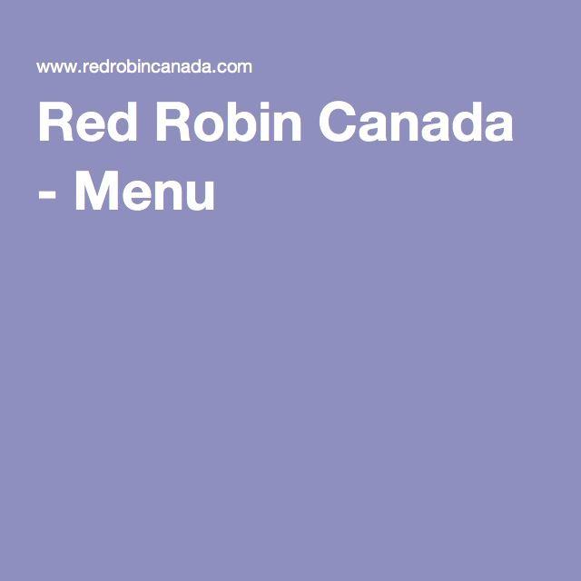 Red Robin Canada - Menu