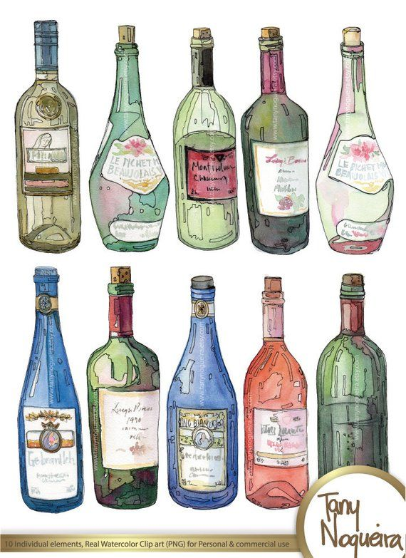 Wine Bottles Glass Colored Clip Art Images Watercolor Hand Painted Png Transparent Backgro Bottle Drawing Painting