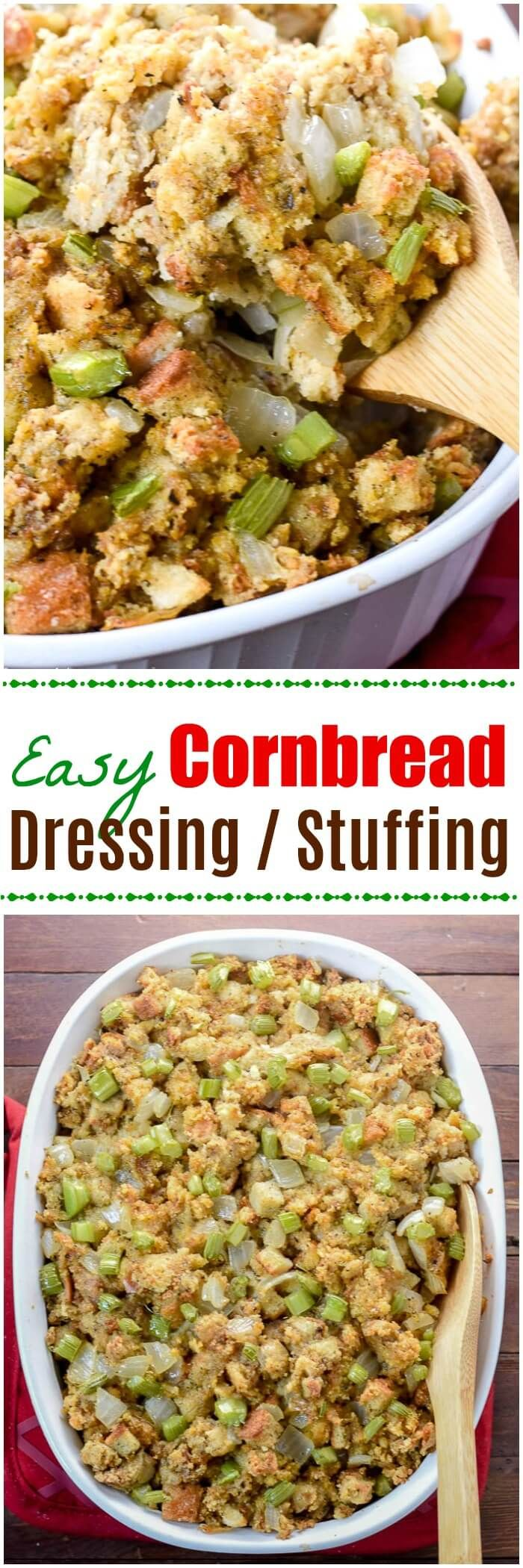 This Easy Cornbread Dressing, or stuffing if you prefer, is an easy recipe for Thanksgiving, Christmas or any holiday. ~ https://FlavorMosaic.com