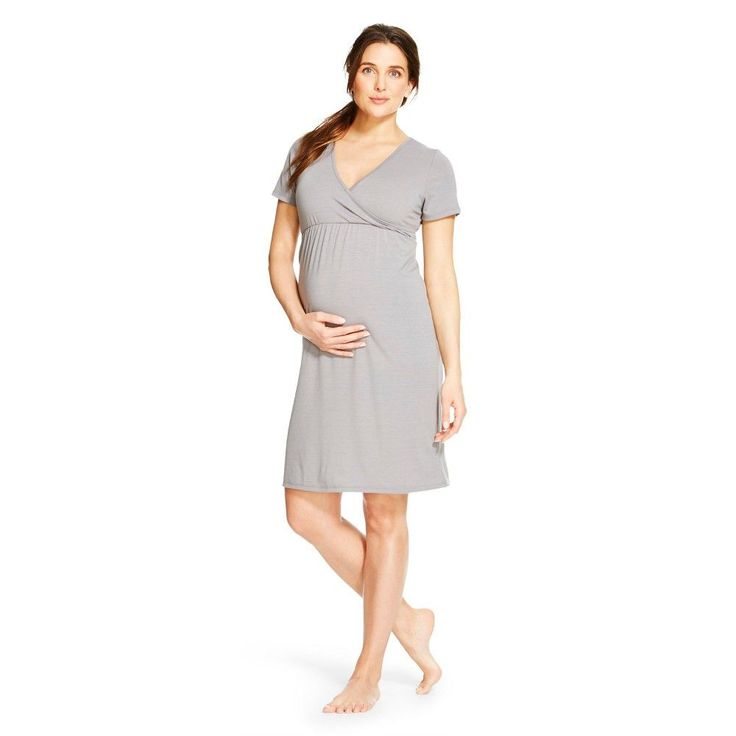Eve Alexander Women's Maternity Short Sleeve Empire Waist Nightgown L Grey